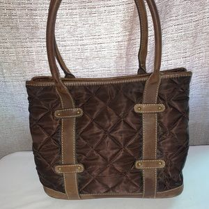 J Crew Brown Quilted Tote with Leather Trim